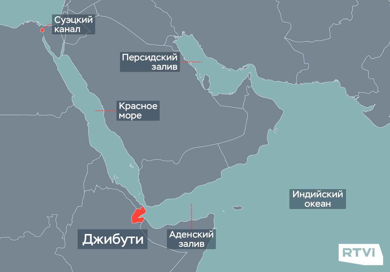 Джибути на карте Ближнего Востока
