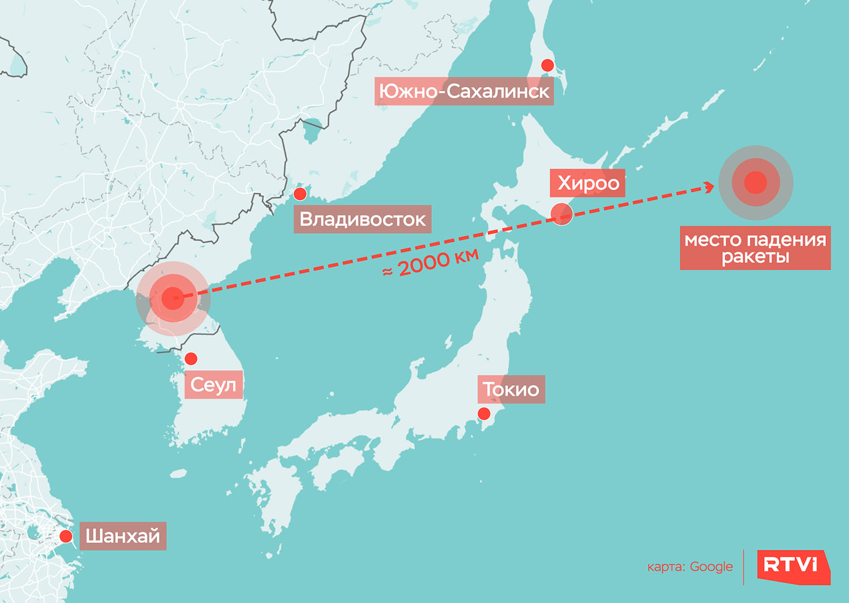 Предполагаемая траектория ракеты КНДР