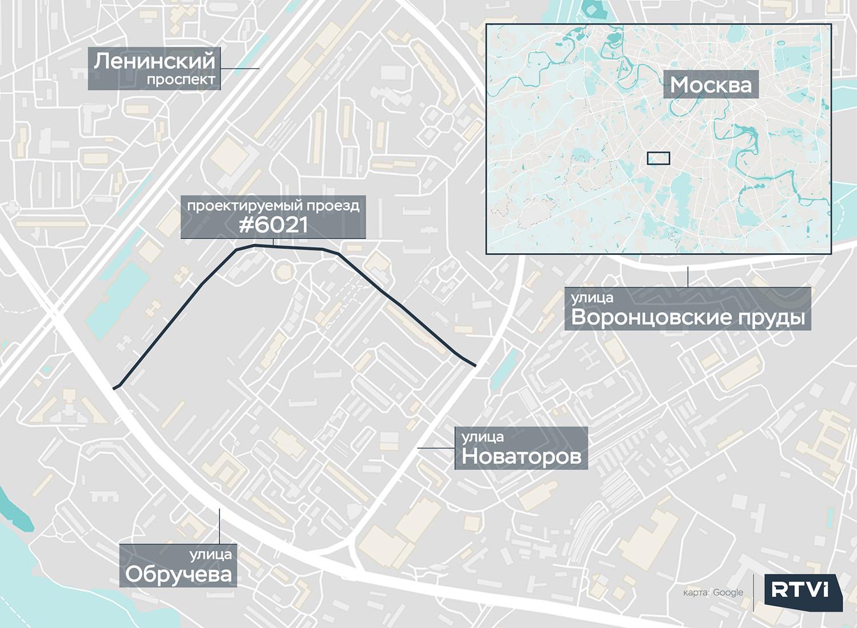 Проектируемый проезд №6021 на карте Обручевского района
