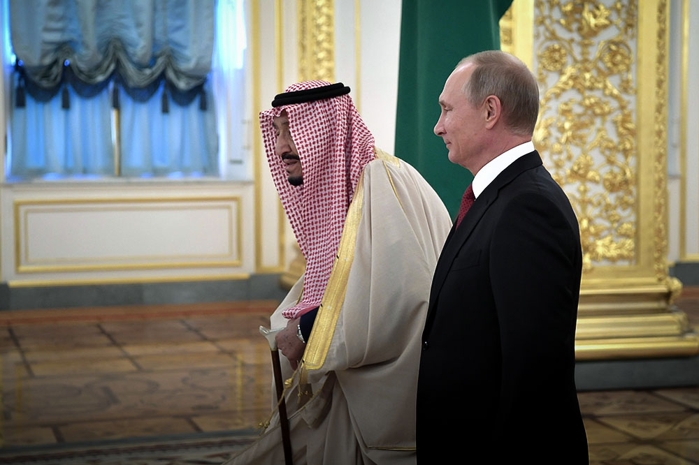 Король Саудовской Аравии Салман с Владимиром Путиным