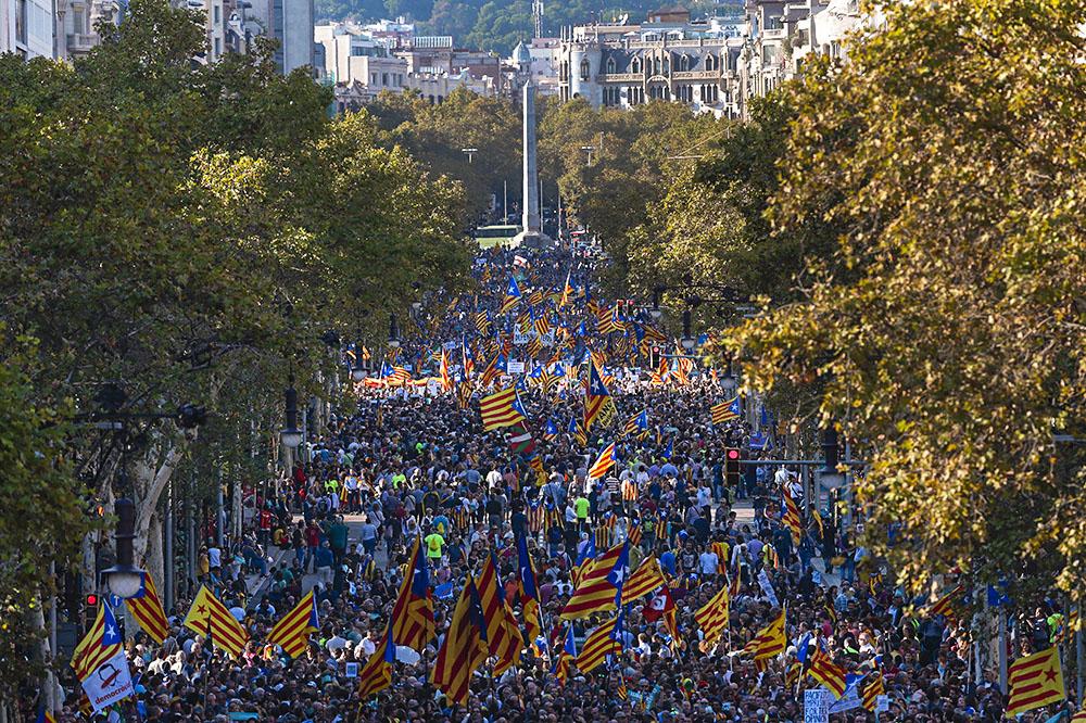 Акция в поддержку независимости Каталонии 21 октября
