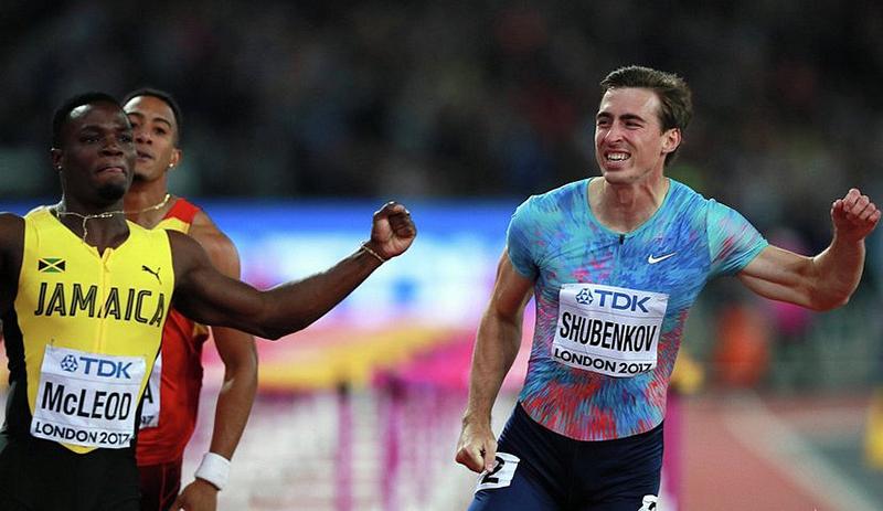 Справа Сергей Шубенков на Чемпионате мира по легкой атлетике в Лондоне