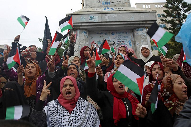 Акция палестинских женщин против признания Иерусалима столицей Израиля