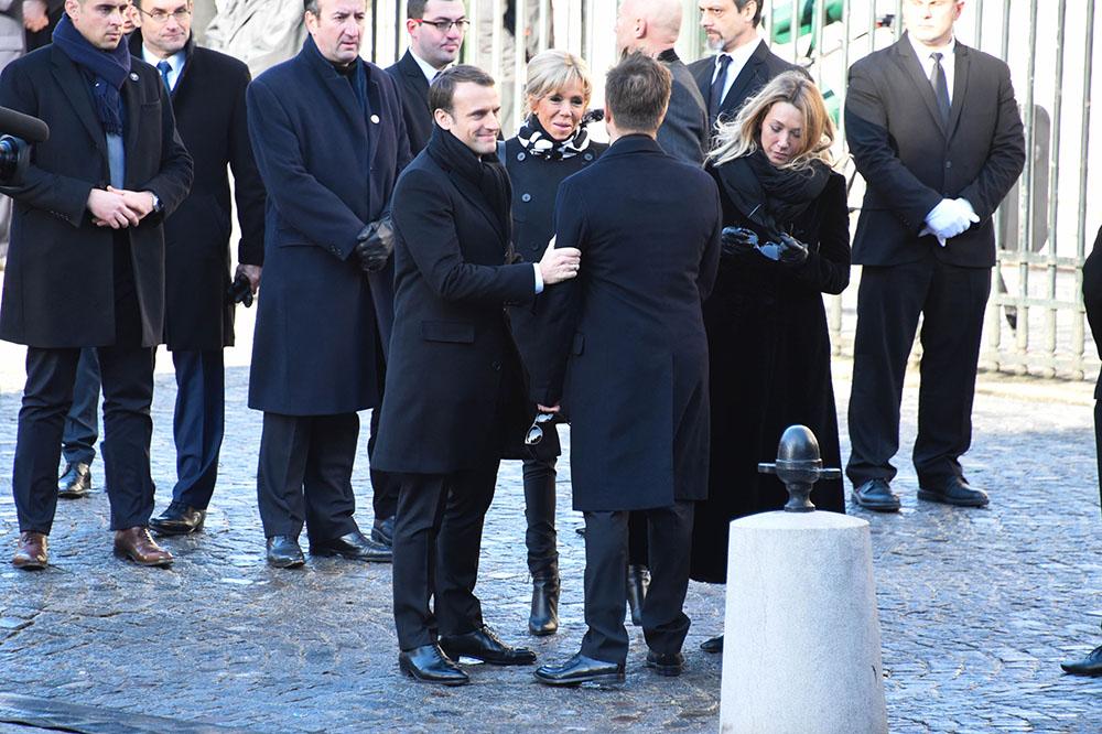 Президент Франции Эммануэль Макрон и его жена Бриджит Макрон с сыном и дочерью Джонни Холлидея