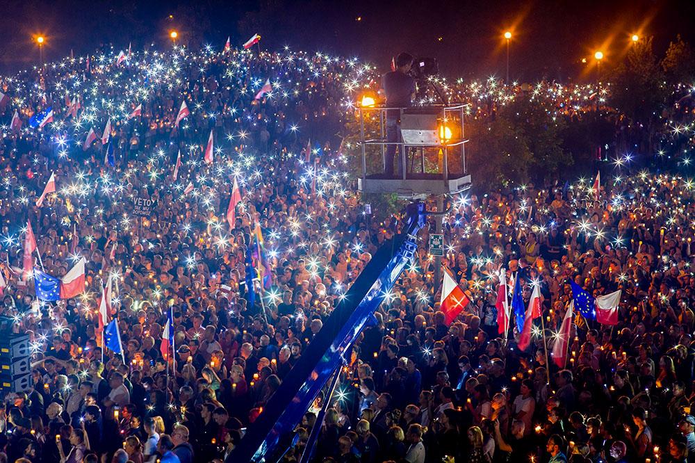Протесты против судебной реформы в Познани