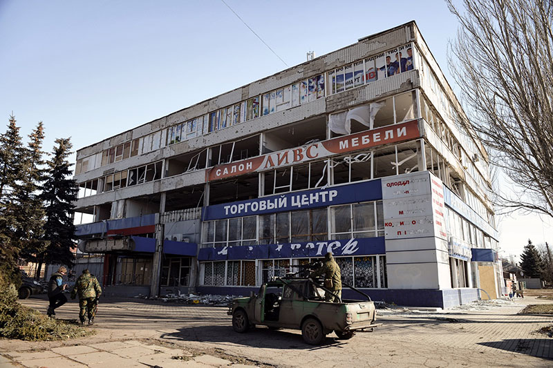 Здание в Горловке, разрушенное в ходе артиллерийского обстрела